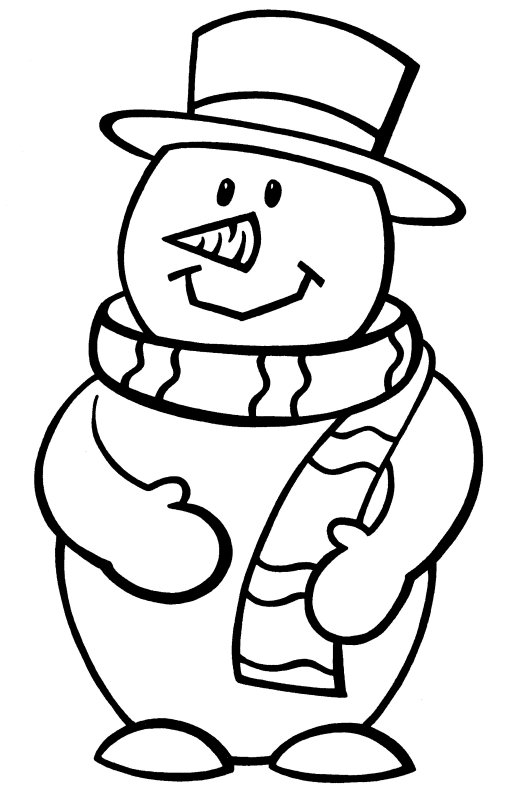 Snowman Coloring Page Template Coloring Pages